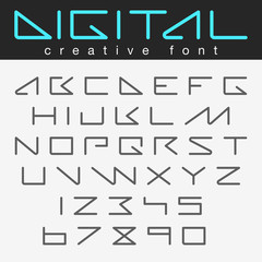 Robot Futuristic font vector design future Letters Numbers