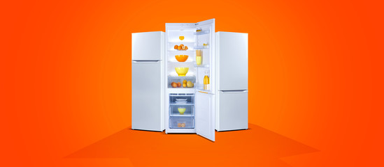 Three refrigerators with fresh food, open door, fridge freezer, orange background