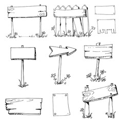 Wooden billboards Vector Sketch. Wooden placard.Cartoon vector and illustration, black and white, hand drawn, sketch style, isolated on white background