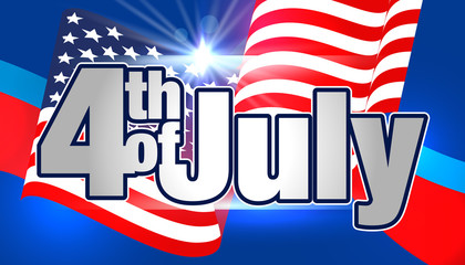 4th of July. Fourth of July Banner. Happy Independence Day Vector Design. 4th of July Vector Card or Banner with USA Flag.