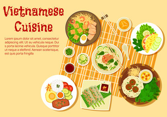 Vietnamese family dinner served on floor flat icon