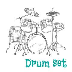Five piece drum kit sketch icon