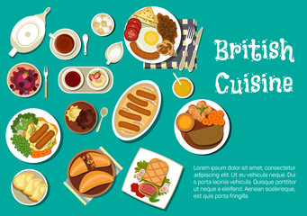British cuisine dinner with comfort food flat icon