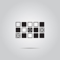Vector horizontal black simple icon of a roulette table.