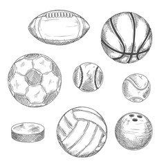 Sketches of sporting balls and ice hockey puck