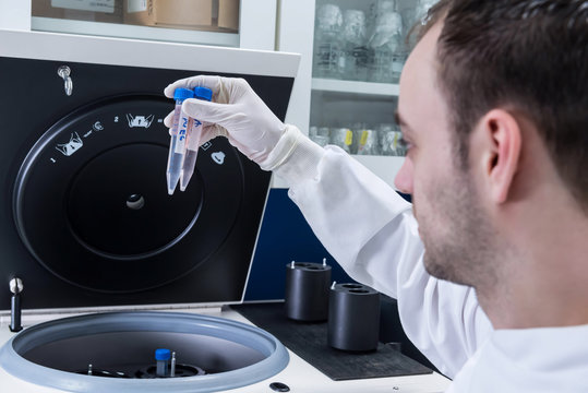 Cancer research laboratory, scientist placing cells into centrifuge