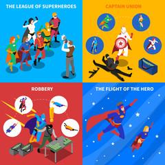 Superhero Concept Isometric Icons Set