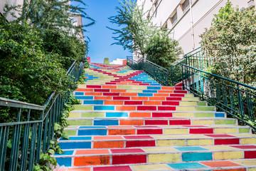 Les Escaliers colorées Rue Prunelle à la Croix-Rousse
