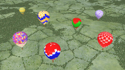 Heißluftballone über einer Landschaft