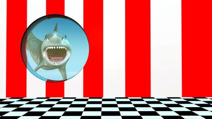 Weißer Hai hinter einem Bullauge