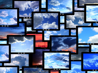 tablets with different images of sky