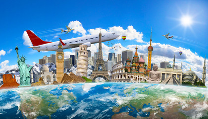 Fotomurales - Famous landmarks of the world grouped together on planet Earth