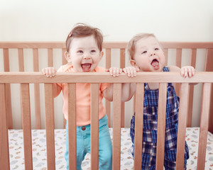 Portrait of two cute adorable funny babies  nine months standing in bed crib smiling laughing, looking in camera away, lifestyle everyday sweet candid moment