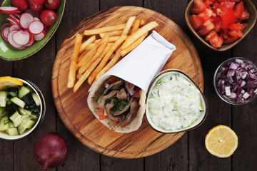 Gyros pita wrapped sandwich
