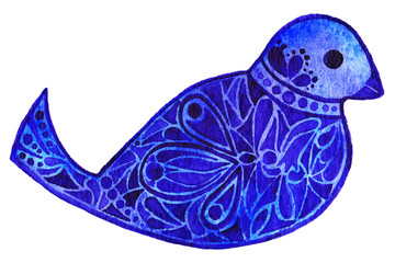 Watercolor hand drawn blue violet pattern bird isolated