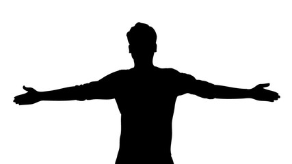 silhouette of a man with open arms. Vector illustration of emotional happiness