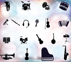 Set of Vector Music Icons Isolated on beautiful background