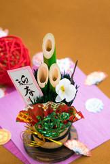 正月イメージ 門松と折り紙