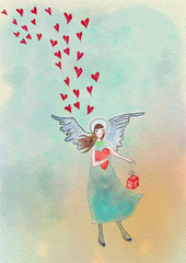 Angel with hearts and gift. Greeting card. Watercolor illustration