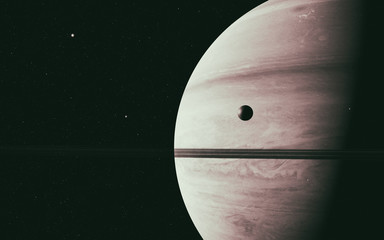 Wall Mural - planet Saturn along with its moon rhea, close up