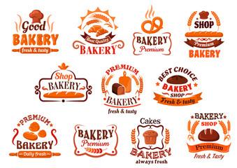 Bakery, pastry and cake shop symbols, retro style