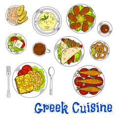 Grilled greek seafood dishes sketch drawing icon