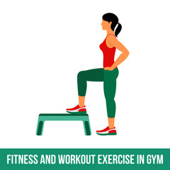 Fitness, Aerobic and workout exercise in gym. Vector set of gym icons in flat style isolated on white background. Woman in gym and Gym equipment.