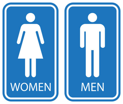 Male and female toilet sign, white isolated on blue background, vector illustration.