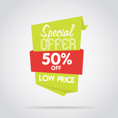 Badge isolated vector in flat design style. Special offer badge or label.