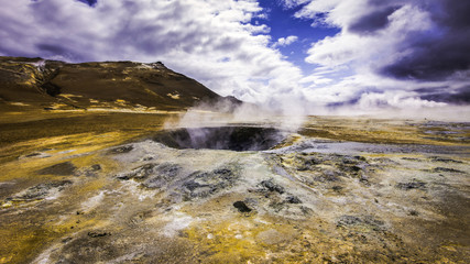 Hot volcanic geothermal area, Namafjall Hverir, Iceland