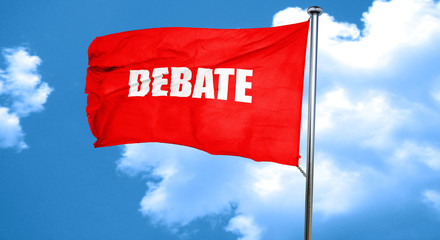 debate, 3D rendering, a red waving flag