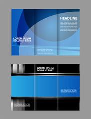 Brochure mock up design template for business, education, advertisement. Trifold booklet editable printable vector illustration.