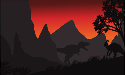 tyrannosaurus and parasaurolophus silhouette in hills