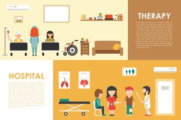 Hospital Therapy flat medical hospital interior concept web vector illustration. Doctor, Patients, Queue, Medicine service
