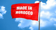 Made in morocco,  3D rendering,  a red waving flag