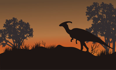 Silhouette of one parasaurolophus in hills