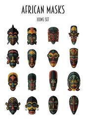 Set of African Ethnic Tribal masks