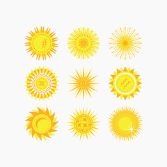 Cute isolated yellow sun and flower icons set on white background