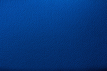 Blue leather texture. Blue leather bag. Blue leather background.