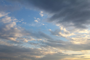 Natural background of the colorful sky and cloud, During the time sunrise and sunset.