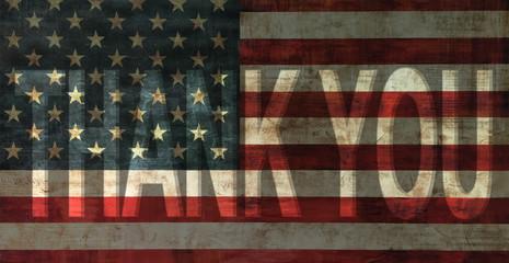 thank you on vintage usa flag