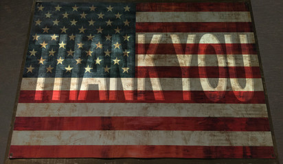 thank you on vintage usa flag