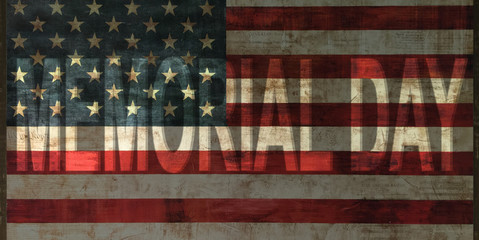 memorial day on vintage american flag