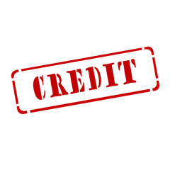 "Red stamp "" credit ""on white background"