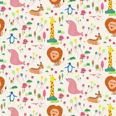 Wild animals seamless background