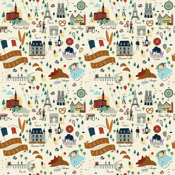 Seamless pattern of travel France