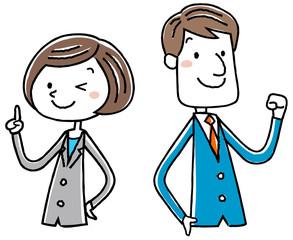 イラスト素材:ビジネス スーツの女性 男性 ポーズ