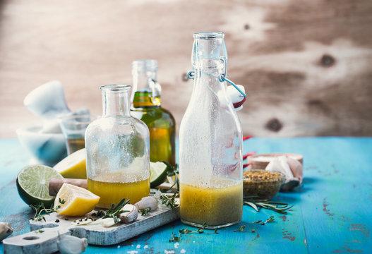 Vinaigrette and ingredients, salad dressing with oil, vinegar