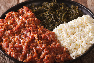 Ethiopian cuisine: kitfo with greens and cheese ayibe macro. horizontal