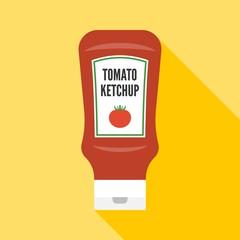 Fototapeta Vector tomato ketchup icon, flat design obraz